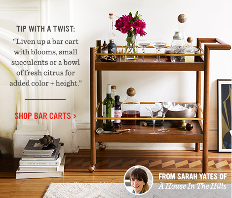 """Tip With A Twist: """"Liven up a bar cart with blooms, small succulents or a bowl of fresh citrus for added color + height."""" - Shop Bar Carts"""