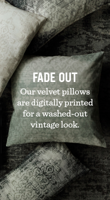 Fade Out - Out velvet pillows are digitally printed for a washed-out vintage look.