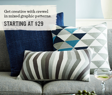 Get creative with crewel in mixed graphic patterns.