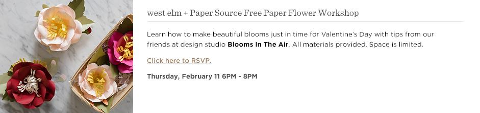 west elm + Paper Source Free Paper Flower Workshop