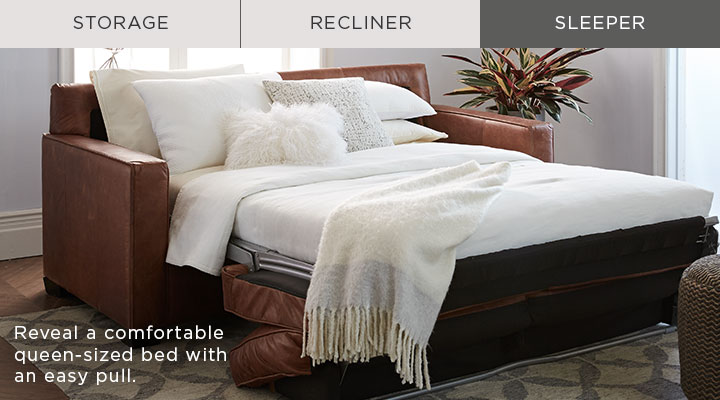 Sleeper - Reveal a comfortable queen-sized bed with an easy pull.