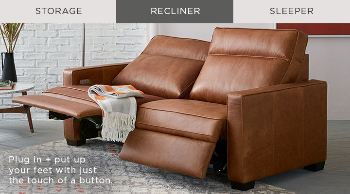 Recliner - Plug in + put up your feet with just the touch of a button.
