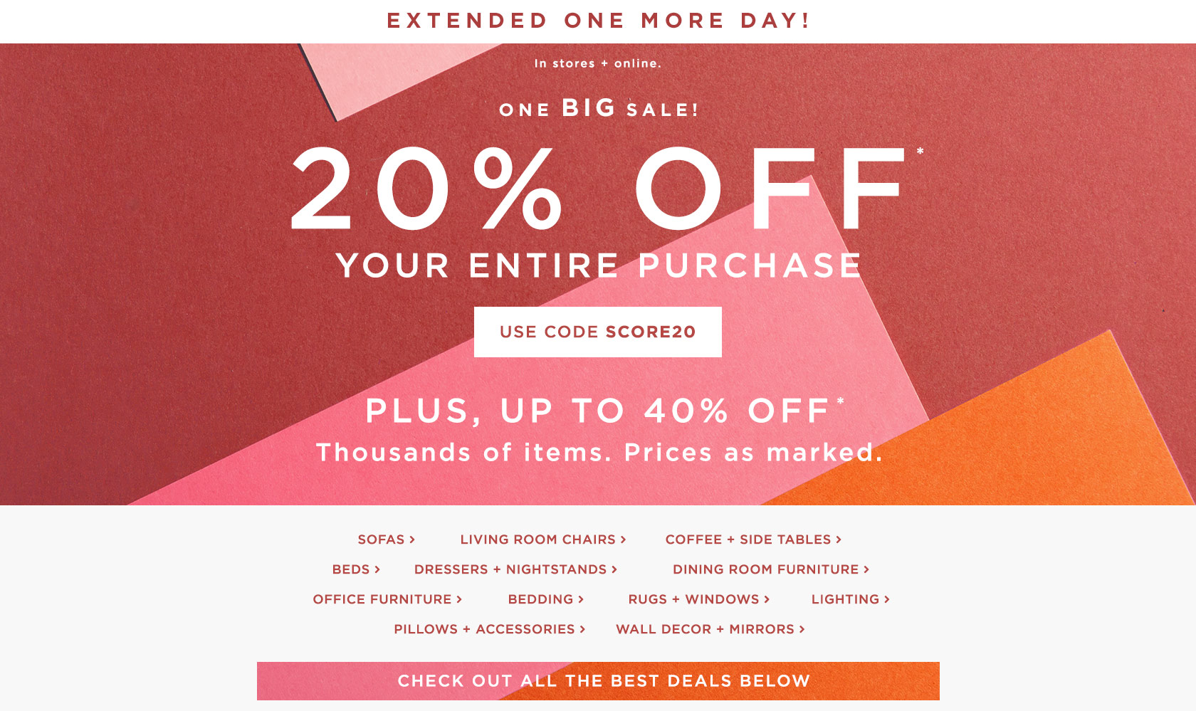 Extended One More Day! 20% Off Your Entire Purchase! Use Code SCORE20