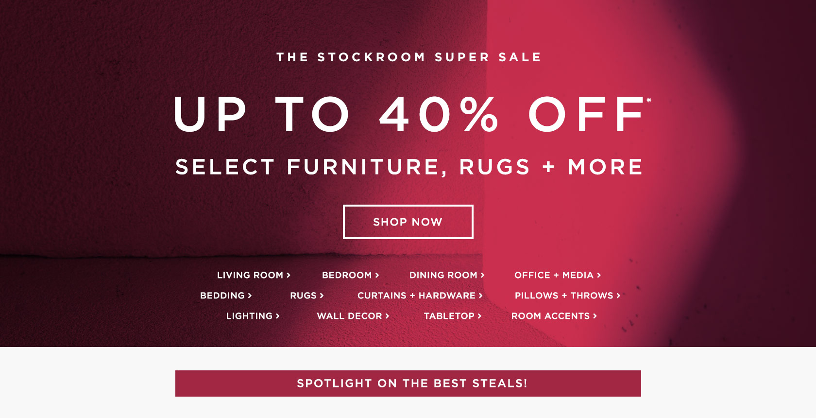 The Stockroom Super Sale: Up To 40% Off Select Furniture, Rugs + More