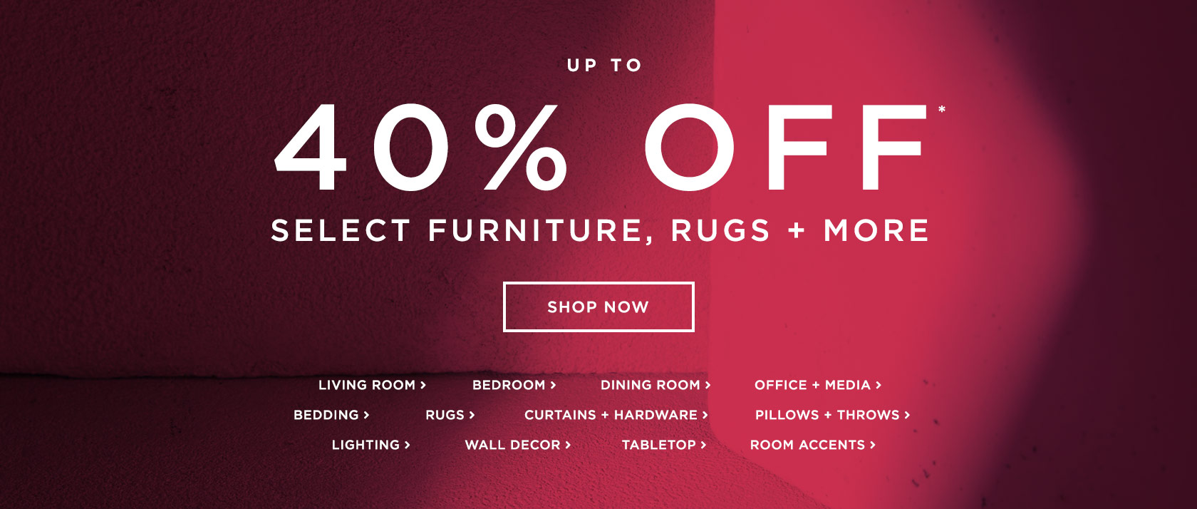 Up To 40% Off Select Furniture, Rugs + More