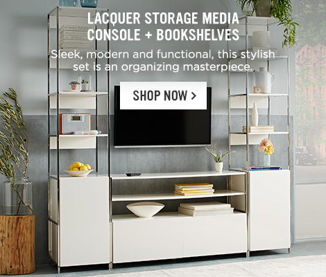 Lacquer Storage Media Console + Bookshelves