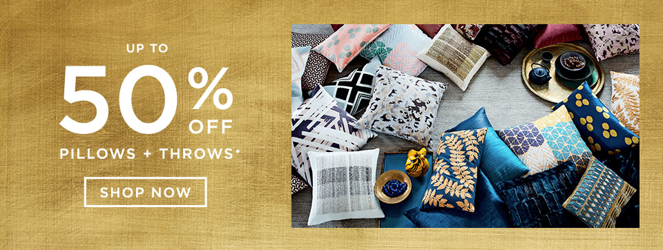 Up To 50% Off Pillows + Throws