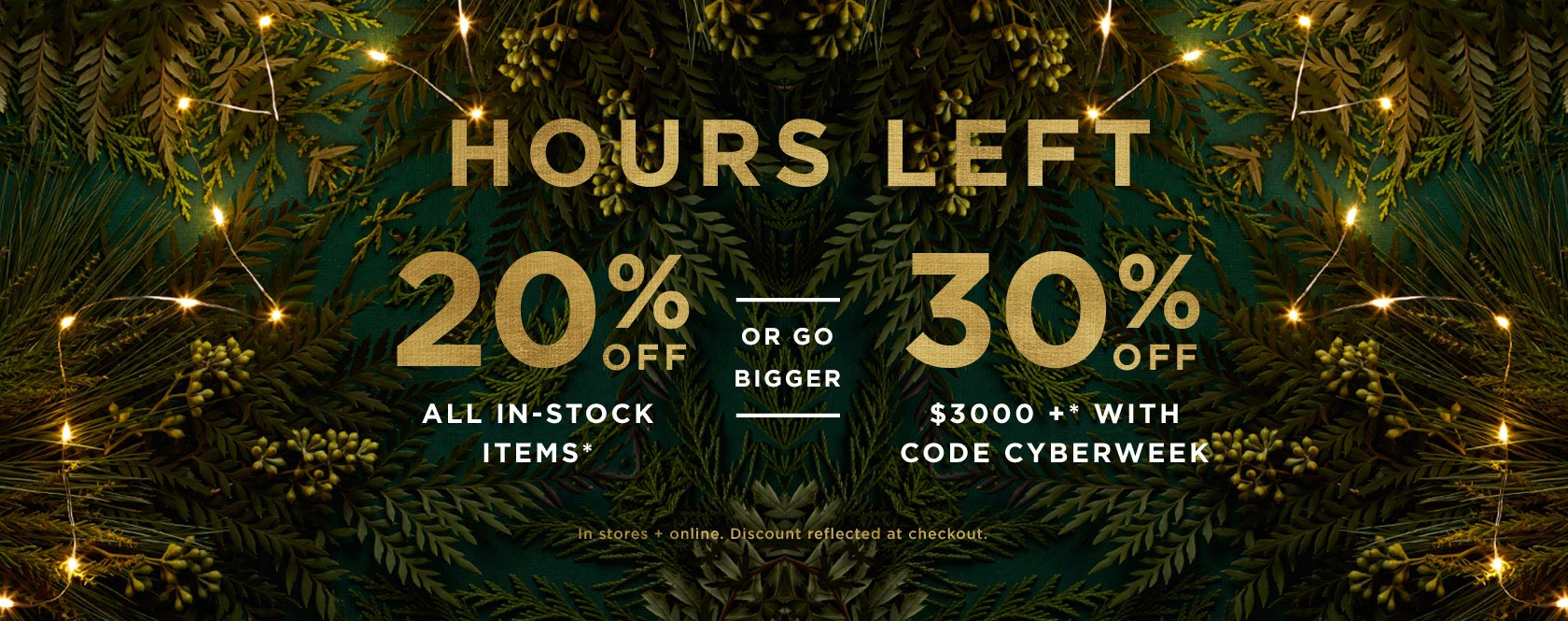 Hours Left! 20% Off In-Stock Items. Prices As Marked. Or 30% Off $3000+ With Code CYBERWEEK