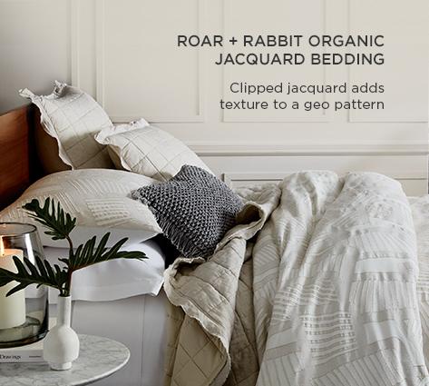 Roar + Rabbit Organic Jacquard Bedding - Clipped Jacquard Adds Texure To A Geo Pattern