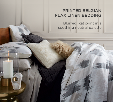 Printed Belgian Flax Linen Bedding - Blurred Ikat Print In A Soothing Natural Palette