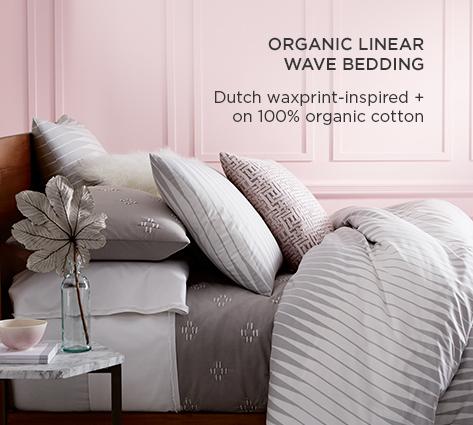 Organic Linear Wave Bedding - Dutch Waxprint-Inspired + On 100% Organic Cotton