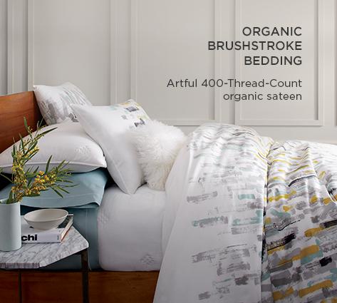 Organic Brushstrokes Bedding - Artful 400-Thread-Count Organic Sateen