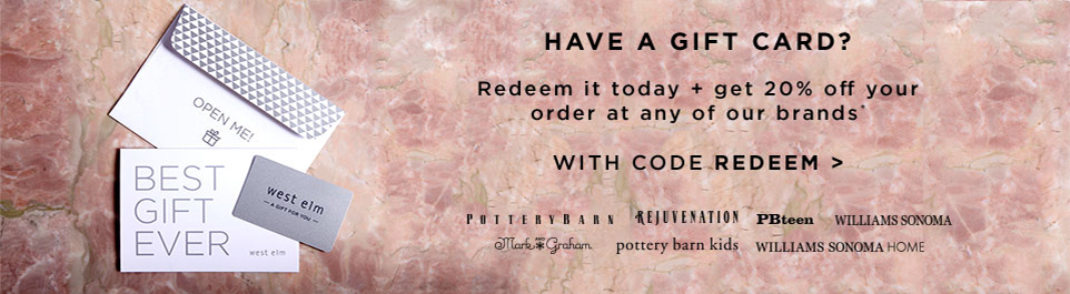 Have A Gift Card? Redeem It Today + Get 20% Off Your Order At Any Of Our Brands with code REDEEM