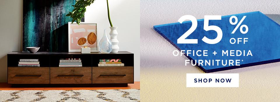 25% Off Office + Media Furniture