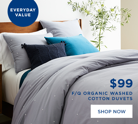 $99 F/Q Organic Washed Cotton Duvets
