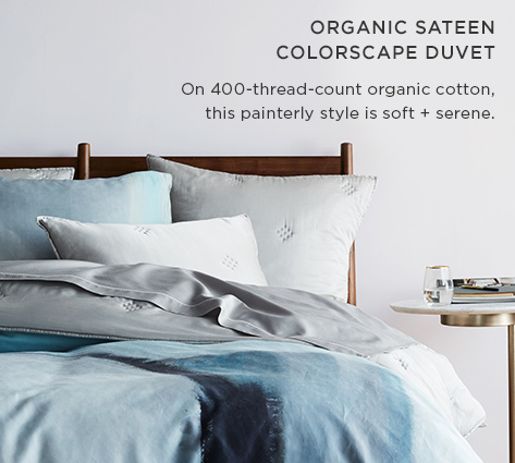 Organic Sateen Colorscape Duvet - On 400-Thread-Count Organic Cotton, This Painterly Style Is Soft + Serene