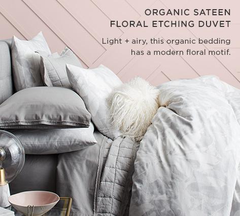 Organic Sateen Floral Etching Duvet - Light + Airy, This Organic Bedding Has A Modern Floral Motif