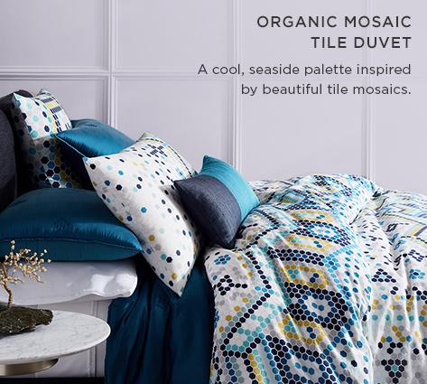 Organic Mosaic Tile Duvet - A Cool, Seaside Palette Inspired By Beautiful Tile Mosaics