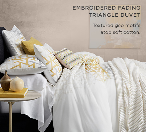 Embroidered Fading Triangle Duvet - Textured Geo Motifs Atop Soft Cotton