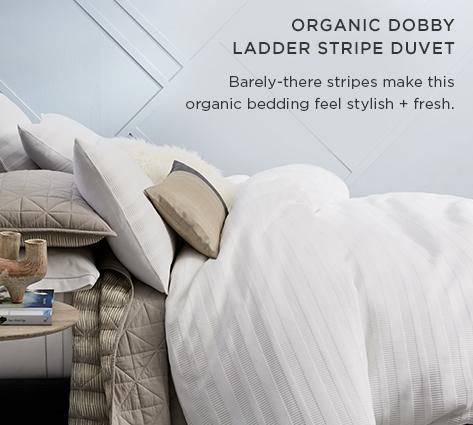 Organic Dobby Ladder Stripe Duvet - Barely There Stripes Make This Organic Bedding Feel Stylish + Fresh