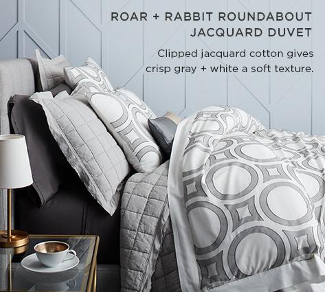 Roar + Rabbit Roundabout Jacquard Duvet - Clipped Jacquard Cotton Gives Crisp Gray + White A Soft Texture