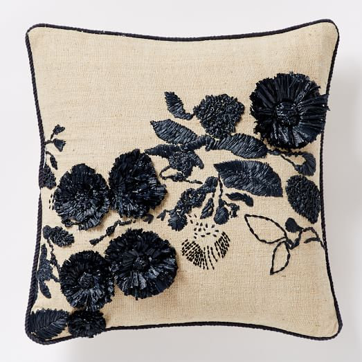 Shadow Frond Silk Pillow Cover - Black/Natural
