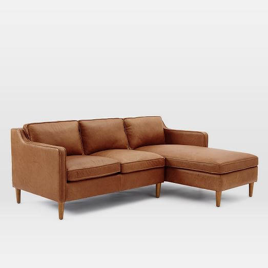Hamilton 2 piece leather chaise sectional west elm for 2 piece chaise sectional