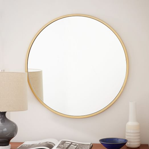 Metal Framed Round Wall Mirror Antique Brass West Elm