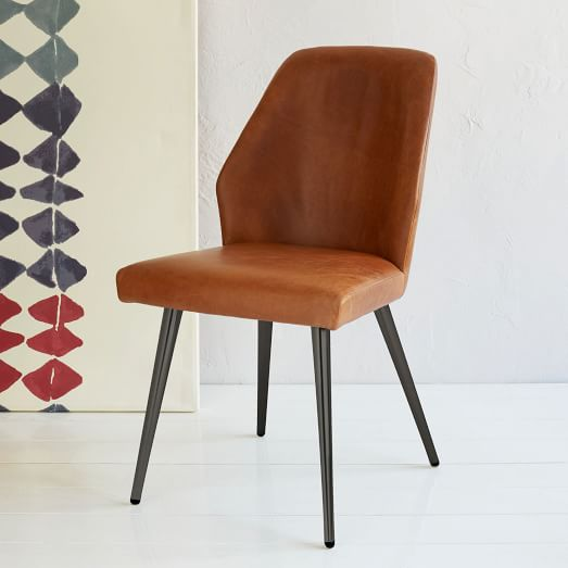 Brown Leather Maxwell Metal Dining Chair: Crawford Leather Dining Chair + Sets