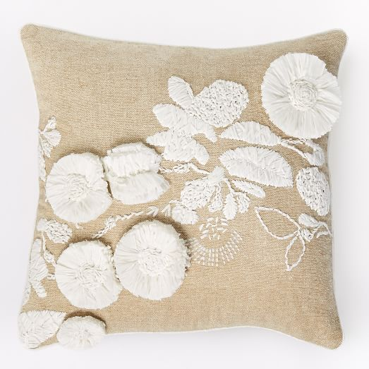 Shadow Frond Silk Pillow Cover - White/Natural