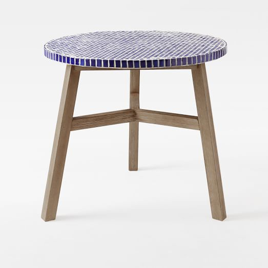 Mosaic Tiled Bistro Table Blue Penny Top Driftwood Base West Elm