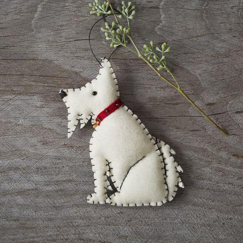 Stitched Dog Ornament, Westie