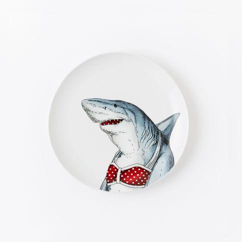 Dapper Animal Salad Plate, Shark