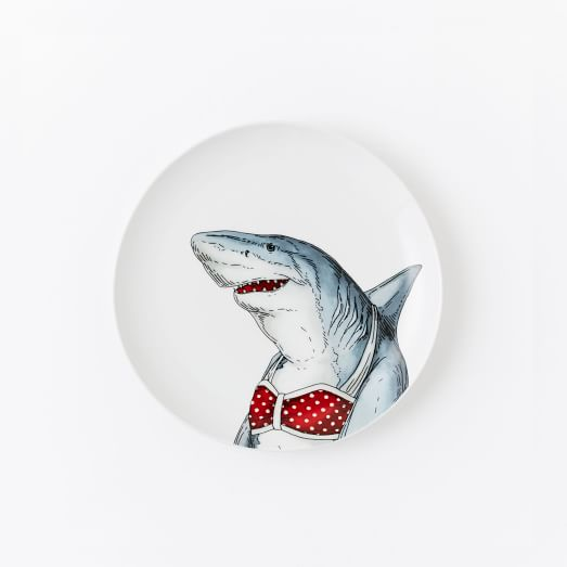 Dapper Animal Salad Plate, Shark