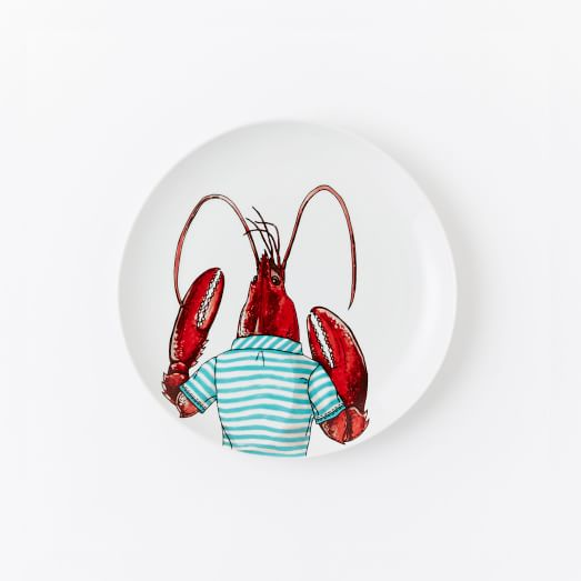 Dapper Animal Salad Plate, Lobster