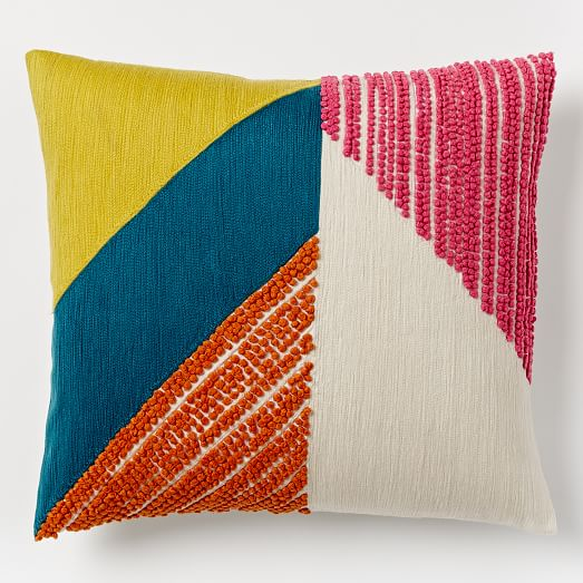 angled crewel pillow cover west elm. Black Bedroom Furniture Sets. Home Design Ideas
