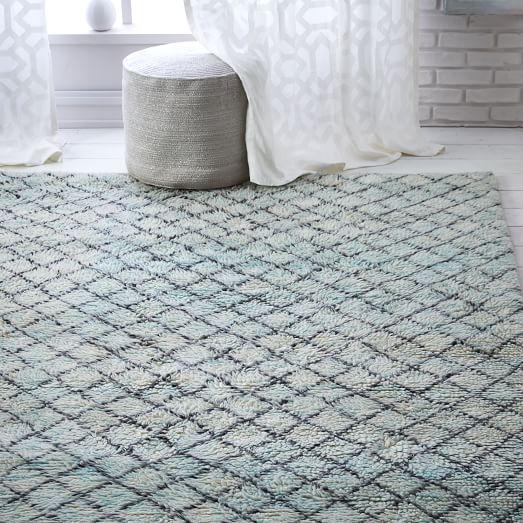 Watercolor Trellis Wool Shag Rug - Blue Teal