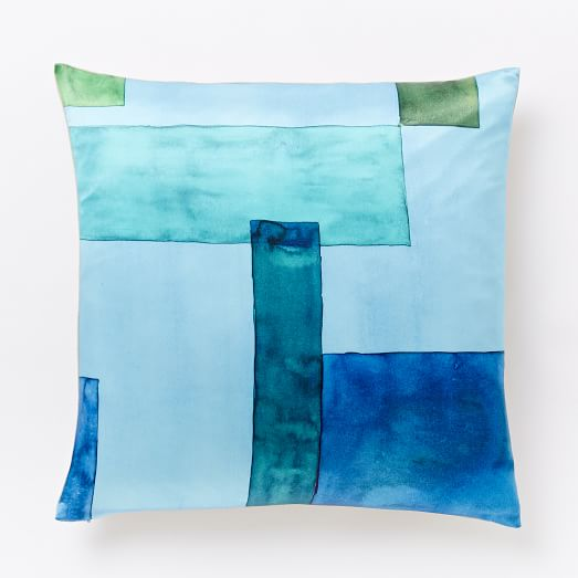 Roar + Rabbit Colorblock Silk Pillow Cover - Blue