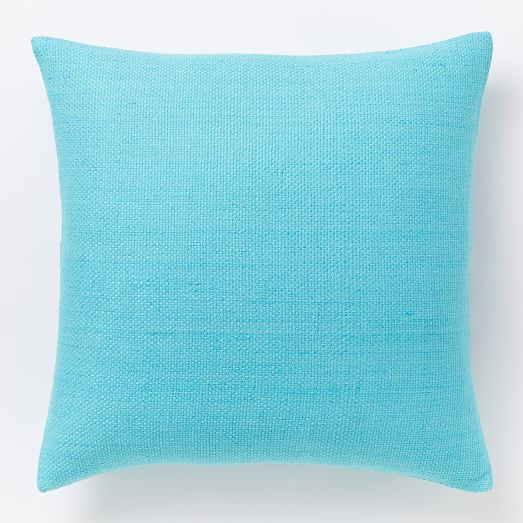 Silk Hand-Loomed Pillow Cover - Bright Turquoise