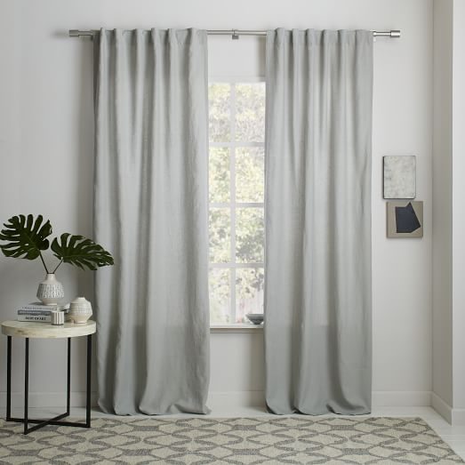 Belgian Flax Linen Curtain - Platinum | west elm