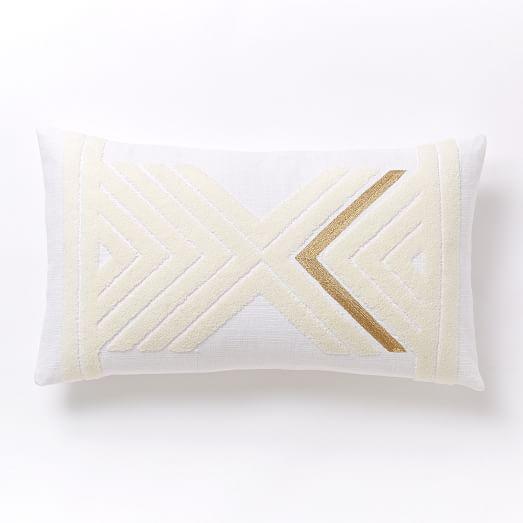 Mirrored Chevron Pillow Cover - Stone White/Gold