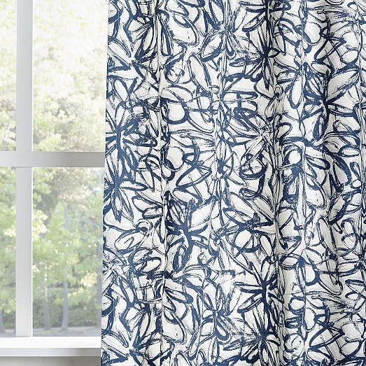Cotton Canvas Graffiti Print Curtain Blue Lagoon West Elm