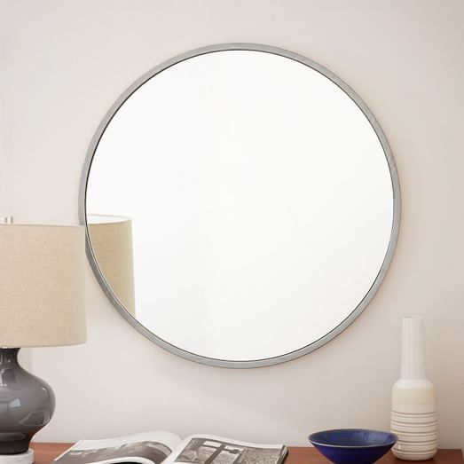 Metal framed round wall mirror brushed nickel west elm Round framed mirror