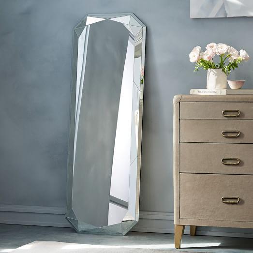faceted floor mirror emerald cut west elm. Black Bedroom Furniture Sets. Home Design Ideas