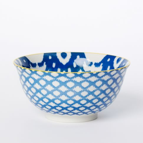 Ikat Pad Printed Serve Bowl, Giant Ikat, Dark Blue/Light Blue