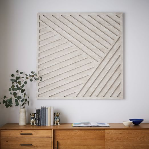 White Dimensional Wall Decor : Whitewashed wood wall art overlapping lines west elm