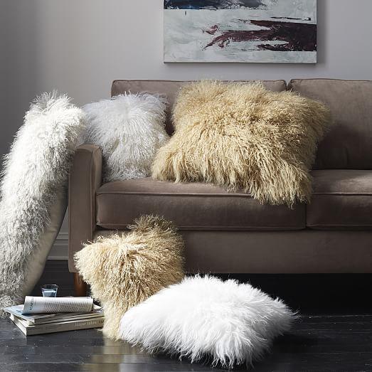 Mongolian Lamb Pillow Cover Platinum 16 Quot Sq West Elm