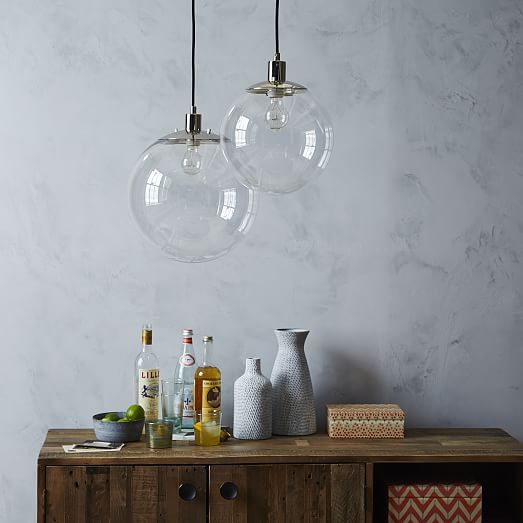 Kitchen Breakfast Bar Pole: Globe Pendant - Clear