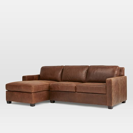 Henry Leather 2 Piece Chaise Sectional Molasses West Elm