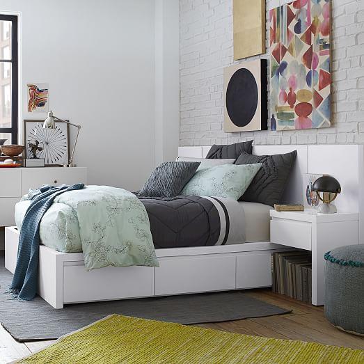 storage platform bed collection white west elm. Black Bedroom Furniture Sets. Home Design Ideas